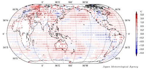 Figure: Annual mean surface temperature anomalies in 2013