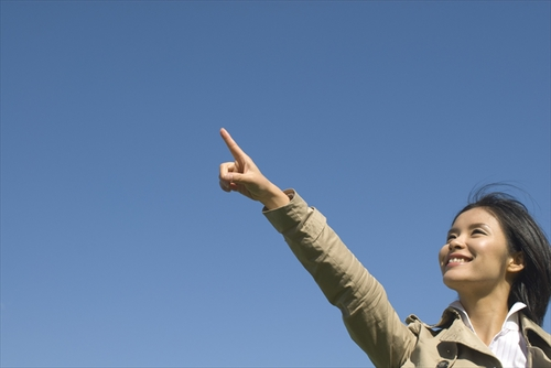 Photo: Blue sky and woman