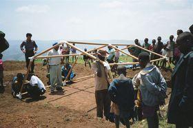 Photo: Paper Refugee Shelters for Rwanda, 1999, Byumba Refugee Camp, Rwanda