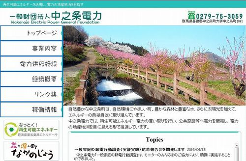 Nakanojo Electric Power General Foundation website