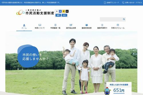 "Ichinomiya City ""Support Program for Community Activities Chosen by Citizens (1% Support Program)"" website"