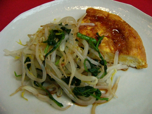 Bean Sprout Stir Fry with Fluffy Tofu Omelet