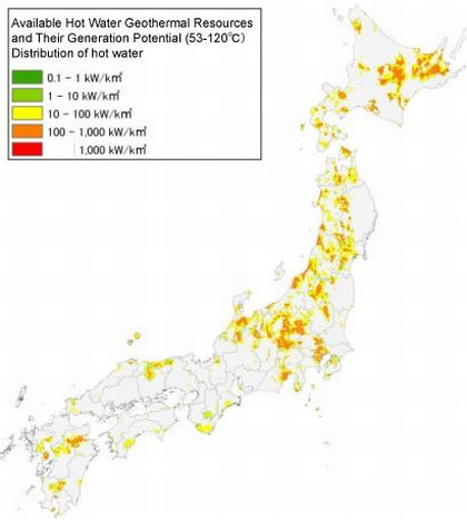 Figure 6. Distribution of hot water geothermal resources (53 - 120℃)