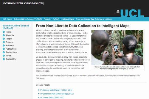 Extreme Citizen Science, University College London website