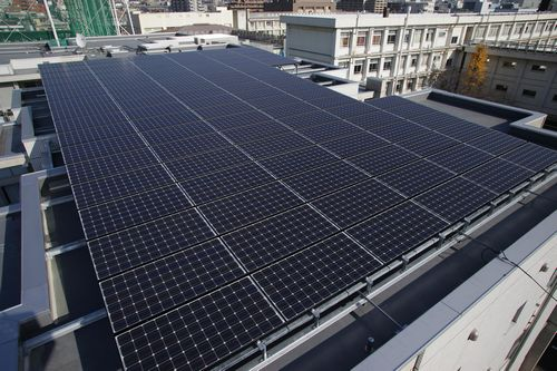 Solar Panels on the top floor of a building