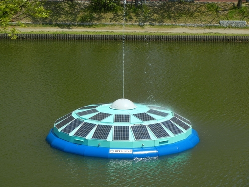 JFS/NTT Facilities' 'Solar UFO' Cleans Pond Water with PV Power